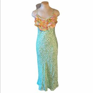 Rixo for Target Leopard Ruffle Slip Dress NWT XS